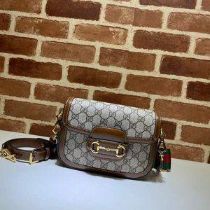 Gucci Horsebit 1955 mini bag GG Supreme Canvas pas